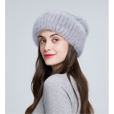 Gray Knitted Twisted Cable and Fur Hat - THE BENJAMIN ORGANIZATION