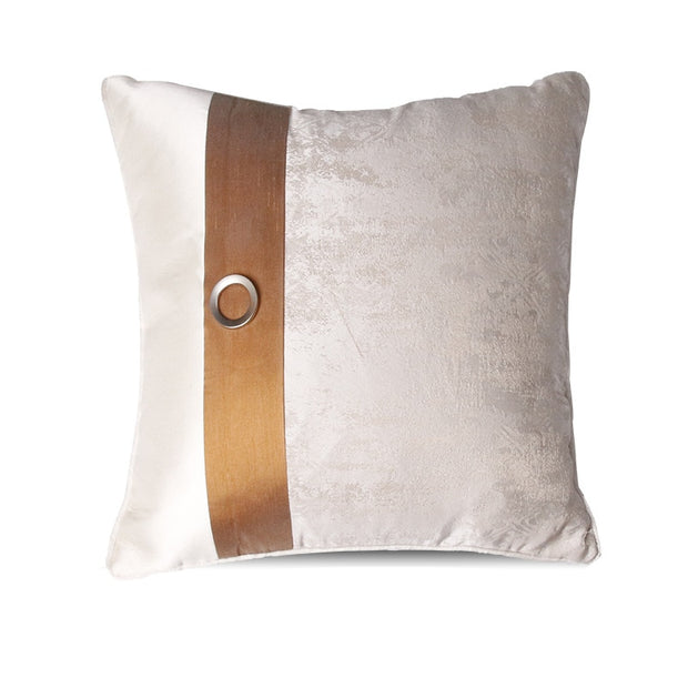 Decorative White and Tan Villa Style Pillow Cover