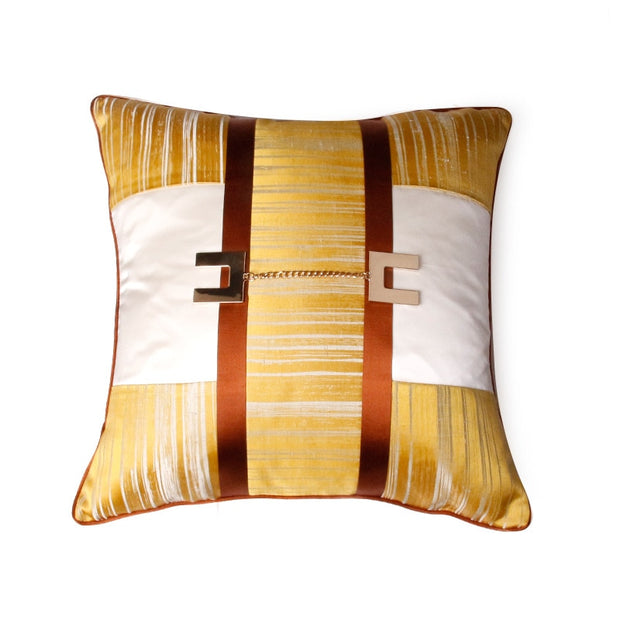 Decorative Yellow, White and Orange Villa Style Pillow Cover