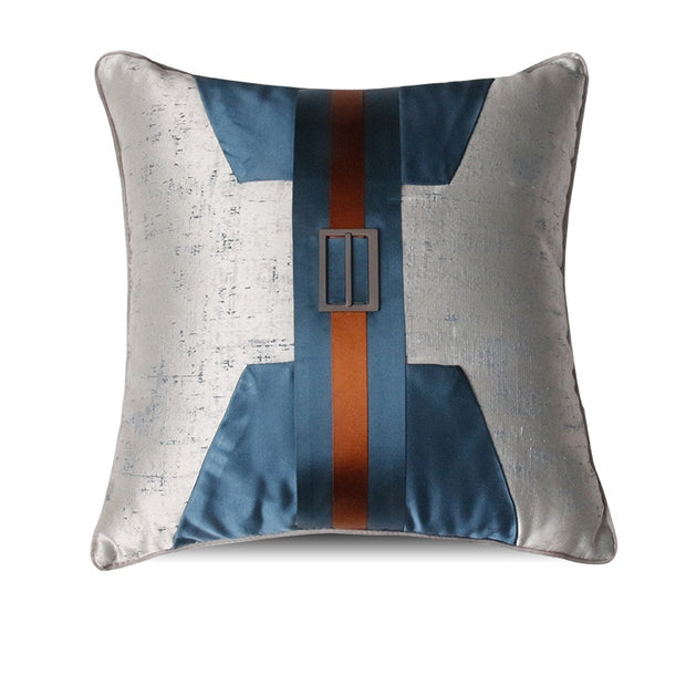 Decorative Gray, Teal and Burnt Orange Villa Style Pillow Cover