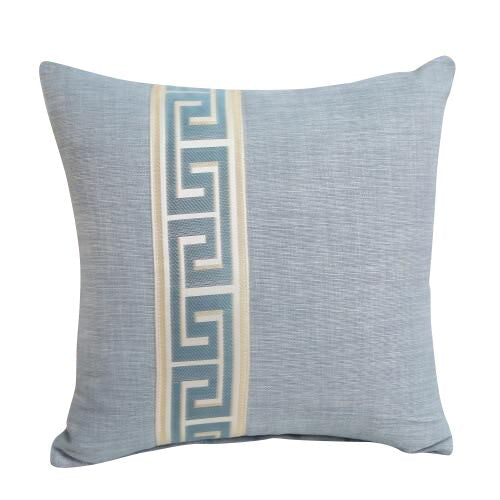 Greek Key Design Light Blue Pillow Cover