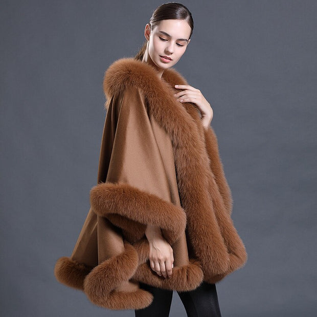 Tan Abigail Wool Poncho with Genuine Fox Fur Trim