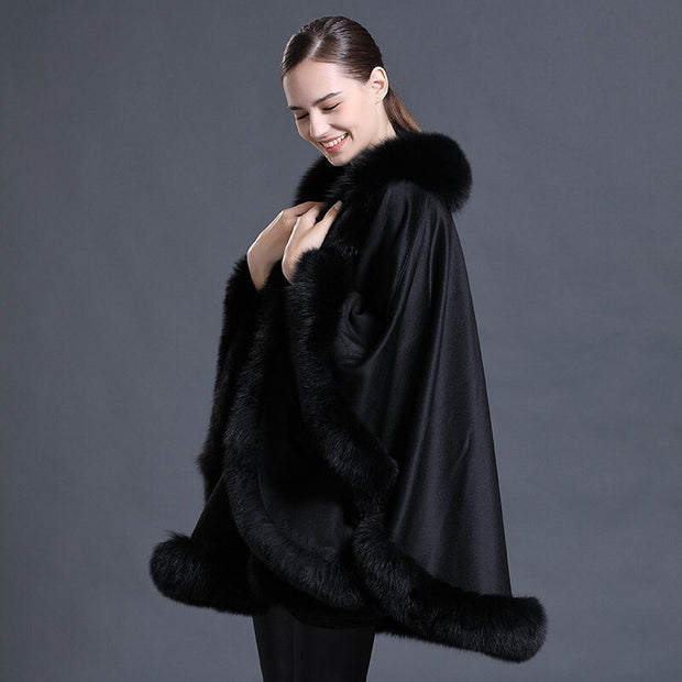 Black Abigail Wool Poncho with Genuine Fox Fur Trim