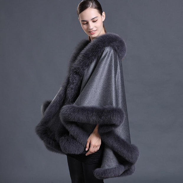 Gray Abigail Wool Poncho with Genuine Fox Fur Trim