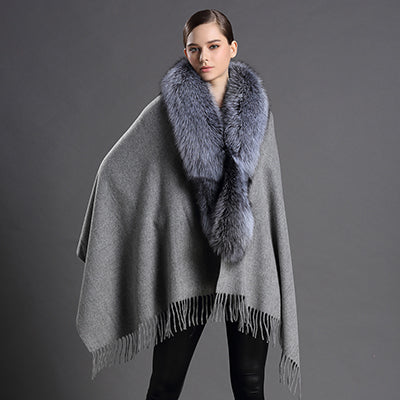 Gray Wool Scarf with Tassels and Fox Fur