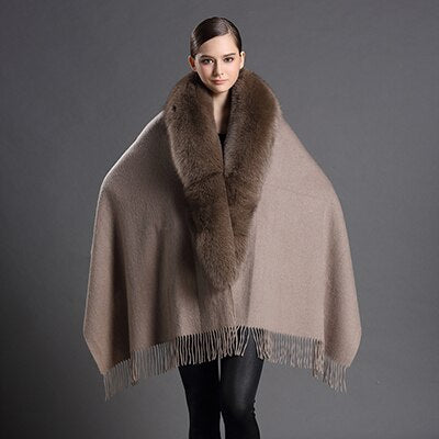 Brown Wool Scarf with Tassels and Fox Fur
