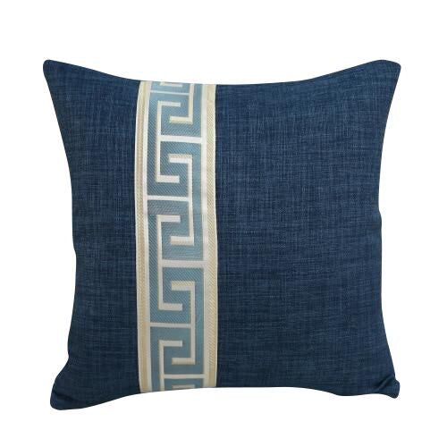 Greek Key Design Blue Pillow Cover
