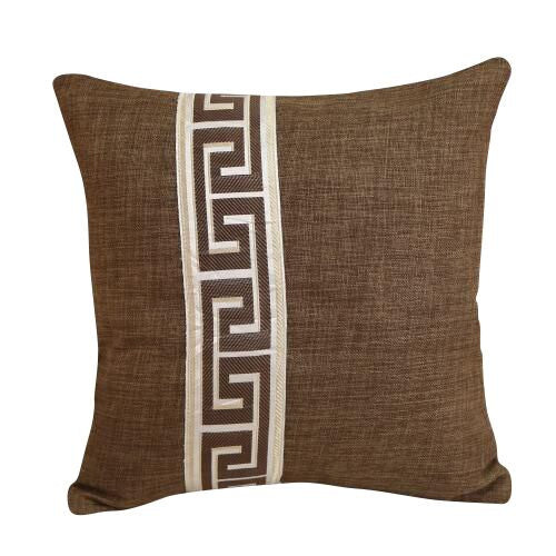 Greek Key Design Coffee Pillow Cover