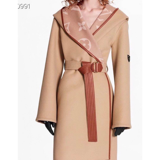 HOODED WRAP COAT WITH BELT
