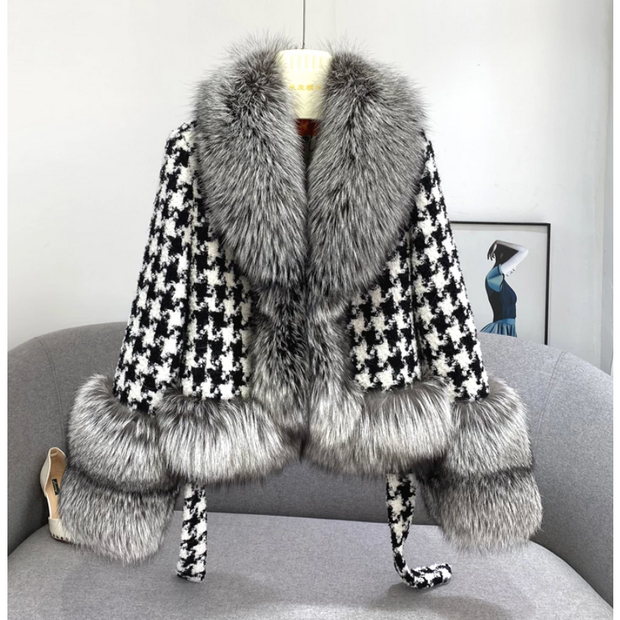 Houndstooth Cashmere Wool Blend Coat with Fox Fur Collar and Cuffs