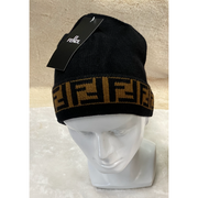 F Black Knit Hat