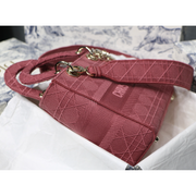 MEDIUM LADY D-LITE BAG Rose Cannage Embroidery