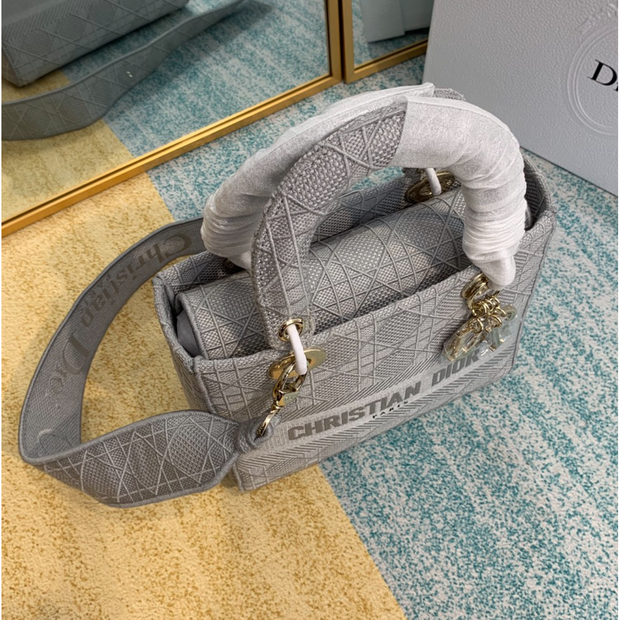 MEDIUM LADY D-LITE BAG Gray Cannage Embroidery