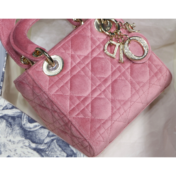 MINI LADY DIOR BAG Cannage Velvet
