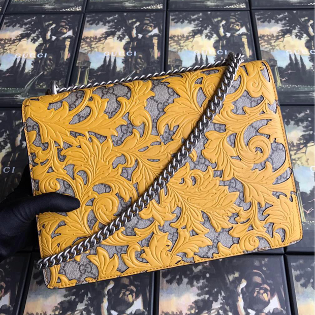 Gucci Dionysus GG Supreme Arabesque Yellow/Beige in Coated Canvas Leather with Silver-tone