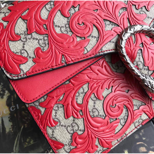 Gucci Dionysus GG Supreme Arabesque Red/Beige in Coated Canvas Leather with Silver-tone