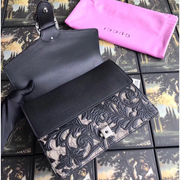 Gucci Dionysus GG Supreme Arabesque Black/Beige in Coated Canvas Leather with Silver-tone