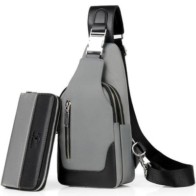 Academy Crossbody Gray Bag Set - Men's Sling Bags