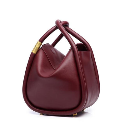 ANJALIE - Leather Bucket Bag - Wine - Small - Women's Bags