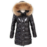 Aspen - Long Black Down and XXL Fox Fur Hood Khaki - Black /