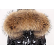 Aspen - Long Black Down and XXL Fox Fur Hood Khaki - WOMEN'S