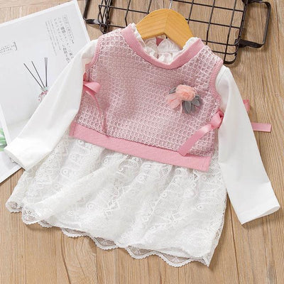 Baby Girl Dress - AF191Pink / 12M - newborn