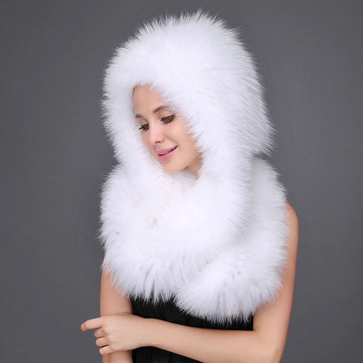BAMIA - Knit Fox Fur Scarf with Hood - Women's Hats