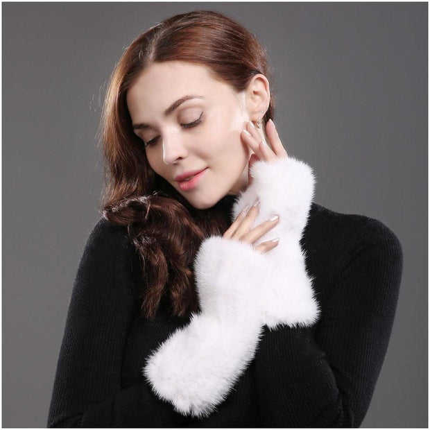 Barcelona White Mink Fur Fingerless Gloves - women's gloves