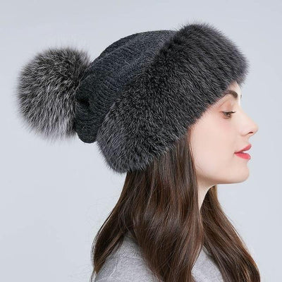 Batteaux Knitted Twisted Cable and Fur Hat - womens winter