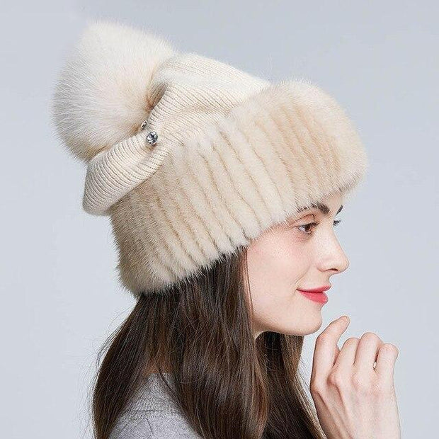 Batteaux Rhinestone Knitted Twisted Cable and Fur Hat -