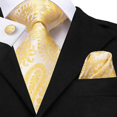 Beige and Yellow Paisley Tie - Men's Ties