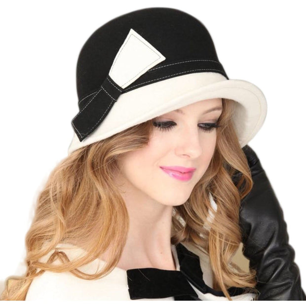 Black and White Cloche Hat with Side Bow - Black / 56-58CM -