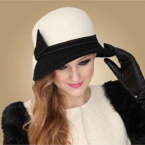 Black and White Cloche Hat with Side Bow - White / 56-58CM -