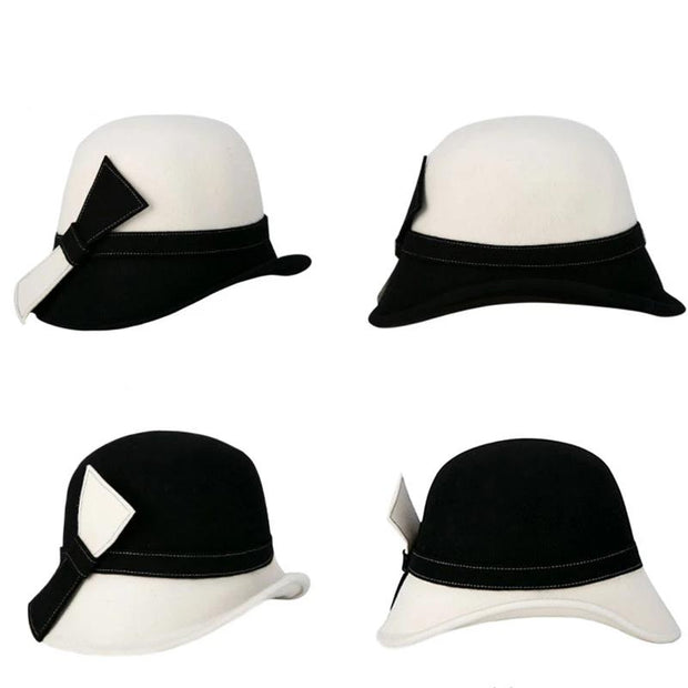 Black and White Cloche Hat with Side Bow - Women's Fedoras