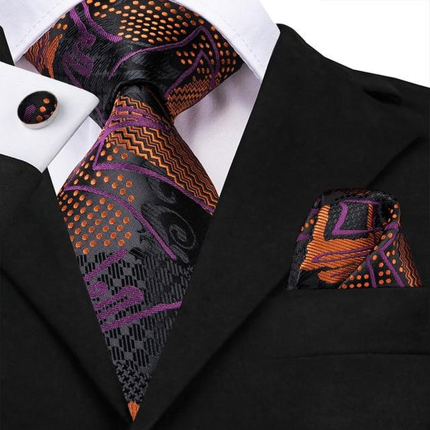 Black Orange Purple Tie - Men's Ties