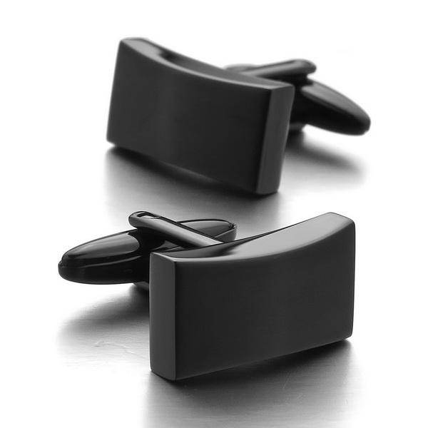 Black Stainless Steel Cufflinks - Men's cufflinks