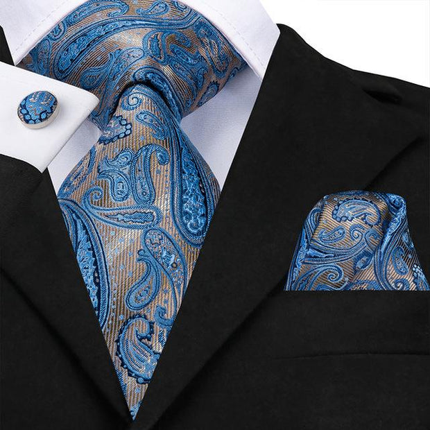 Blue and Gray Paisley Tie - Men's Ties
