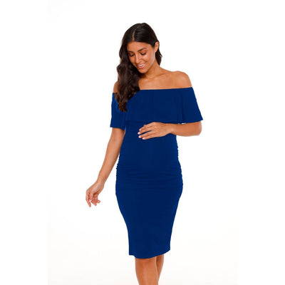 Blue Ruffles Off -the- Shoulder Maternity Dress - women's