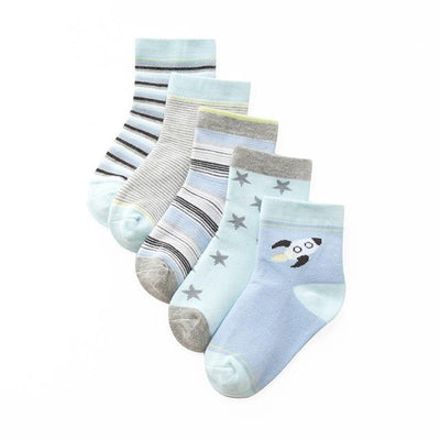 Boys Blue Themed Socks - 5 Pairs - 2 / L 5 to 8Years -