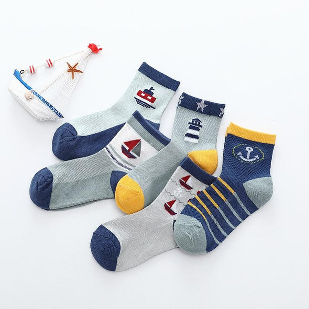 Boys Nautical Themed Mesh Socks- 5 Pairs - Boys Socks