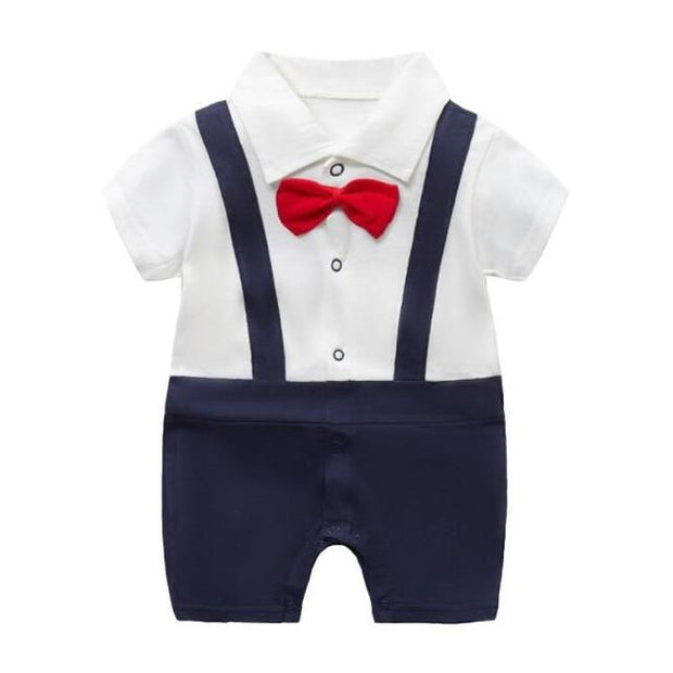 Boy's Romper - red tie / 6M - Baby Boys clothing