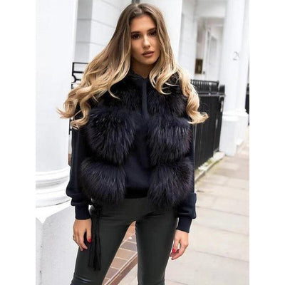 Braelynn Genuine Raccoon Fur Black Vest - black / M bust