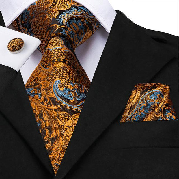 Brown Orange and Blue Paisley Tie - Men's Ties