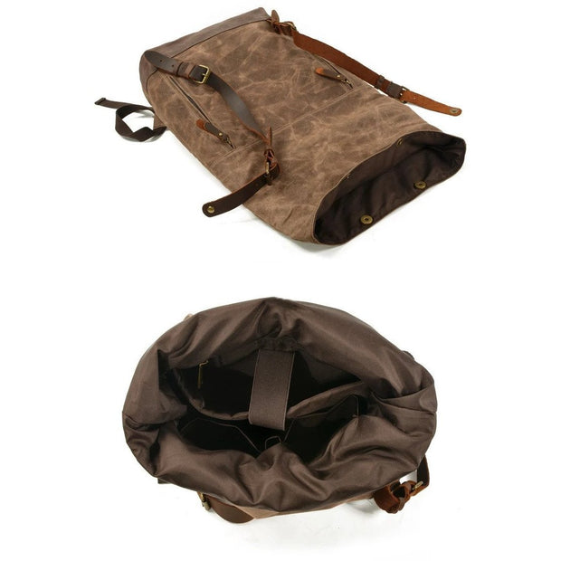 Carlos Waterproof Canvas Backpack - Brown - men's backpacks