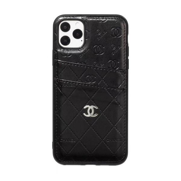 Chanel Logo Embellished Phone Case with Card Slots Black -