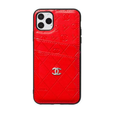 Chanel Logo Embellished Phone Case with Card Slots Red - For