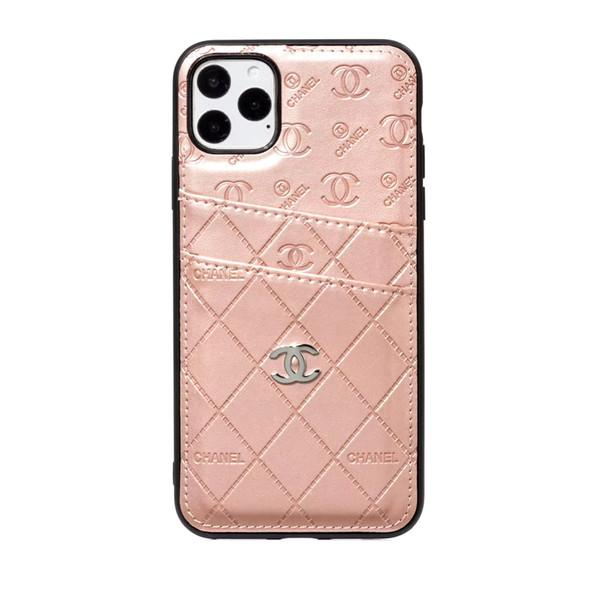 Chanel Logo Embellished Phone Case with Card Slots Rose Gold