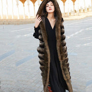 CHARMAINE - Chinchilla Fur Vest with Sable Fur Collar -