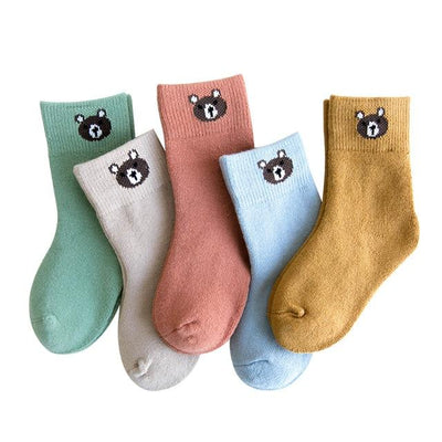 Children's Bear Thermal Socks-5 Pack - c165 / 6 to 8y -