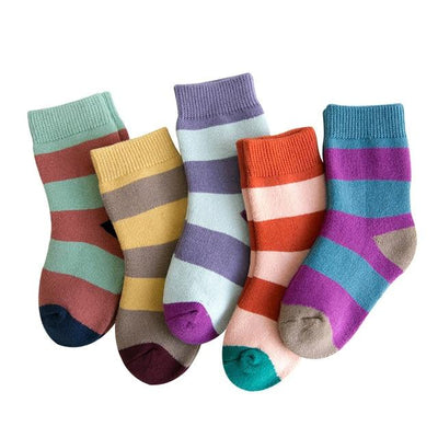 Children's Big Stripes Thermal Socks-5 Pack - c163 / 6 to 8y